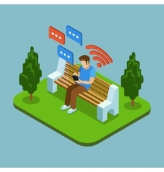 Young man sitting in park and sending messages vector