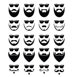 Beard and sunglasses hipster icons set vector image vector image