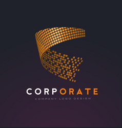 Corporate abstract logo with gold shattered vector