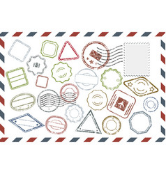 postal stamps set on envelope vector image
