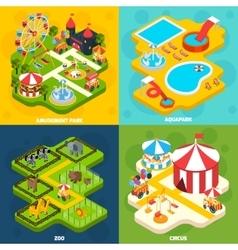 Amusement Park Isometric 4 Icons Square vector image