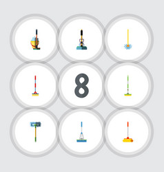 flat icon broomstick set of broom sweep vector image vector image