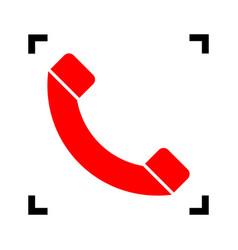 phone sign red icon inside vector image