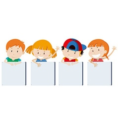 Boys and girs holding signs vector image