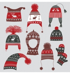 Nordic winter hats vector image