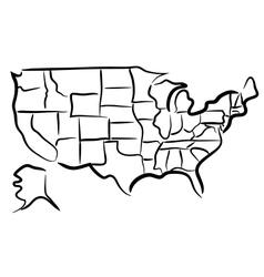USA sketch map vector image