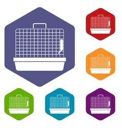 Cage for birds icons set vector image vector image