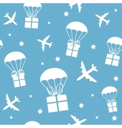 Cartoon airplanes and parachutes with gift boxes vector image vector image