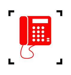 communication or phone sign red icon vector image