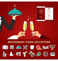 Restaurant Emoji Icon Set vector image vector image