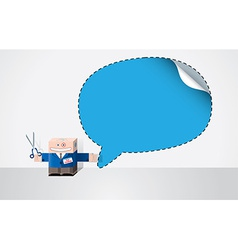 Robot with cut out speech bubble vector image