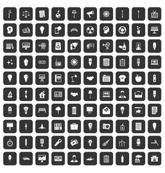 100 lamp icons set black vector