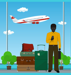 african american man at the airport vector image