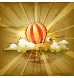 Air balloon old style background vector image