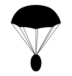 Airdrop concept parachute with coin silhouette vector