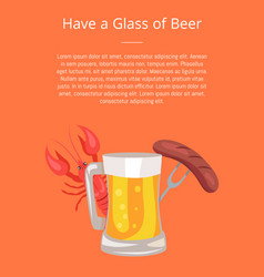 Beer sausages and crayfish vector