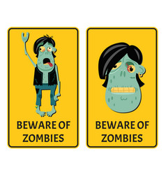 beware of zombies labels with punk rocker monster vector image