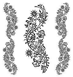 black floral ornament pattern vector image