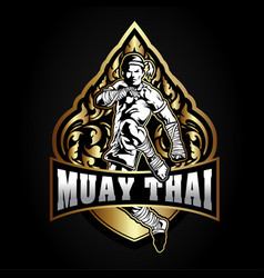 boxing muay thai fighter logo vector image