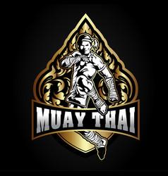 Boxing muay thai fighter logo vector
