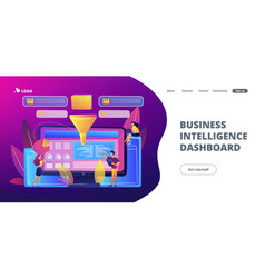 Business intelligence dashboard concept landing vector
