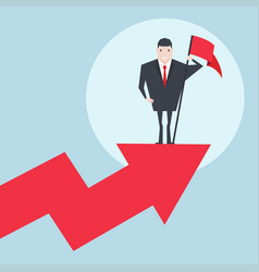 businessman holding red flag standing on graph vector image