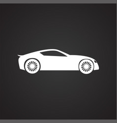 car icon on black background for graphic and web vector image