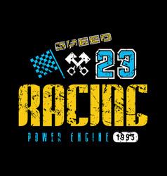 Car racing emblem with shabby texture vector