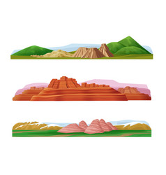 Cartoon colorful mountain landscapes set vector