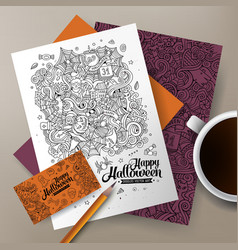 Cartoon cute doodles Halloween corporate vector
