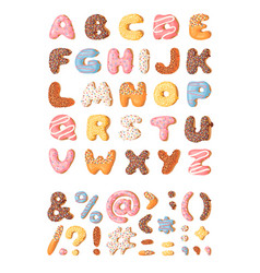 cartoon donut hand drawn font vector image