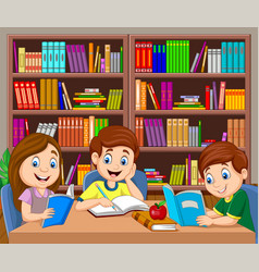 cartoon kids studying in library vector image