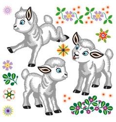 cartoon little sheep set vector image