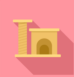 Cat play house icon flat style vector