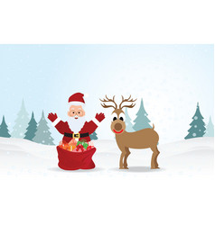 christmas background with santa claus and vector image