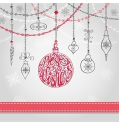 Christmas ballgarlands in greating card vector