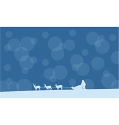 Christmas Santa with train landscape vector image