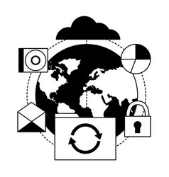 Cloud computing world folder refresh vector