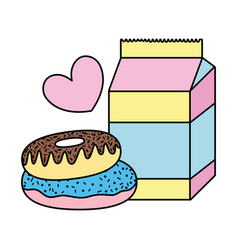 Color milk box with sweet donuts and heart vector