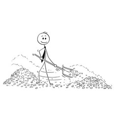 Conceptual cartoon of wealthy businessman shovel vector