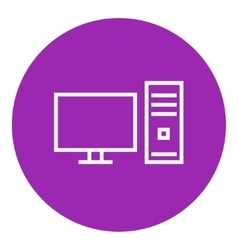 CPU and monitor line icon vector image