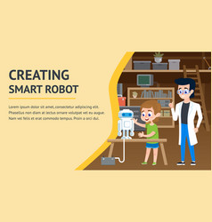 Creating smart robot garage engineering workshop vector