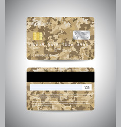 credit cards set with military background design vector image vector image