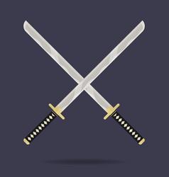Crossed katana swords icon samurai weapon ninja vector