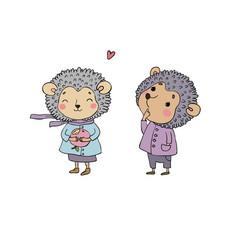 cute cartoon hedgehog funny animals happy zoo vector image