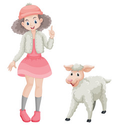 Cute girl and little lamb vector