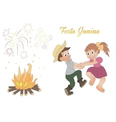 Cute hand-drawing of dancing children bonfire and vector