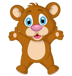 cute little brown bear cartoon expression vector image