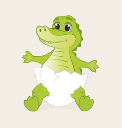 cute little crocodile hatched from egg vector image
