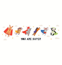 Cute superhero animals card vector